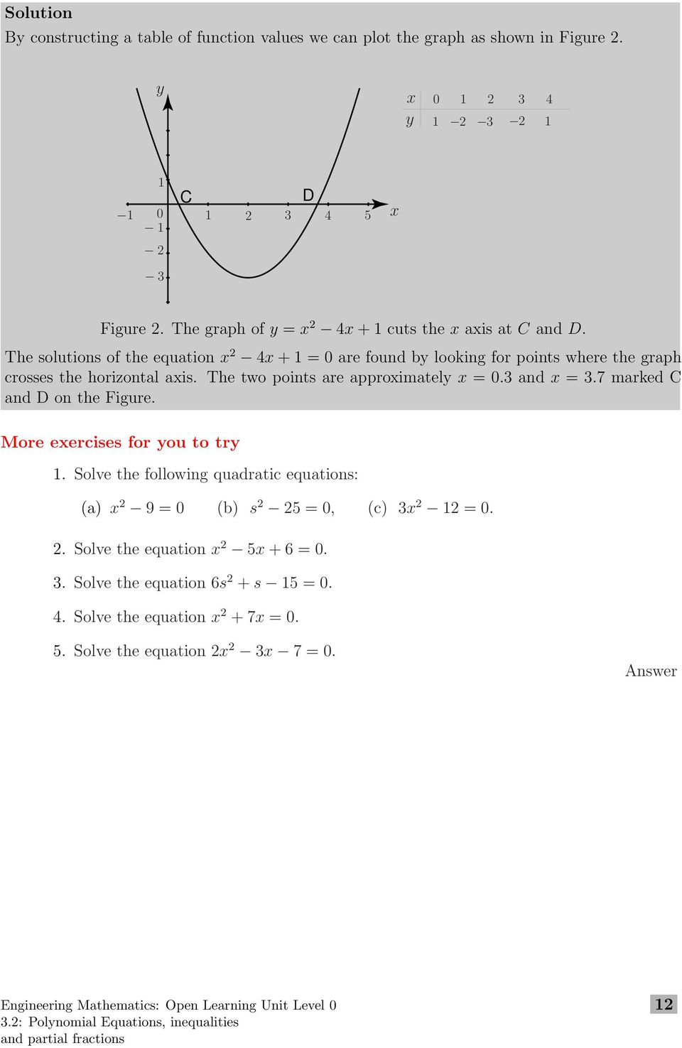 The two points are approximately x =0.3 and x =3.7 marked C and D on the Figure. More exercises for you to try 1.