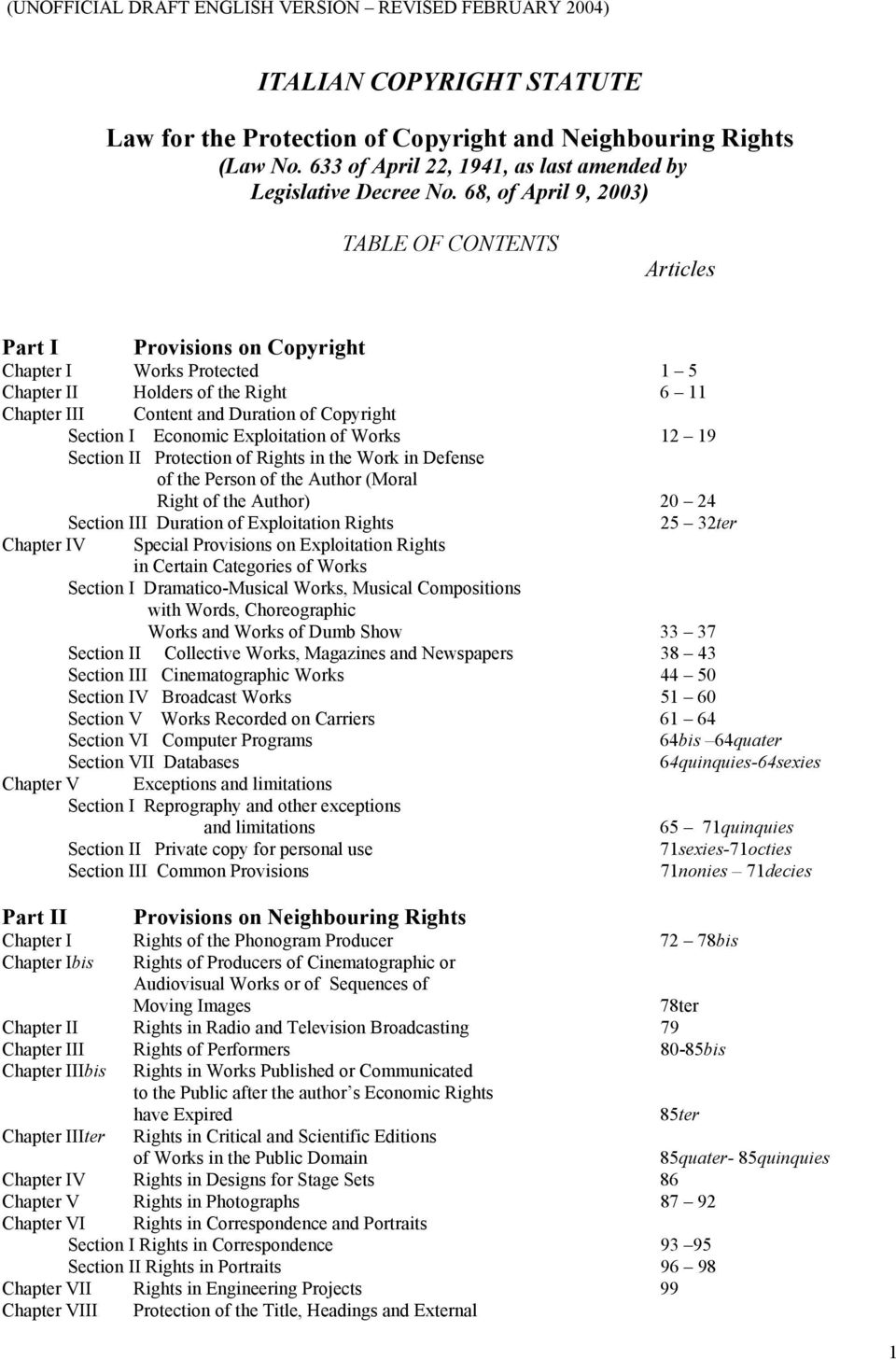 68, of April 9, 2003) TABLE OF CONTENTS Articles Part I Provisions on Copyright Chapter I Works Protected 1 5 Chapter II Holders of the Right 6 11 Chapter III Content and Duration of Copyright