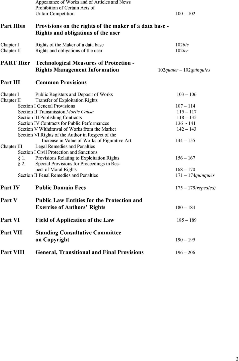 102quinquies Part III Common Provisions Chapter I Public Registers and Deposit of Works 103 106 Chapter II Transfer of Exploitation Rights Section I General Provisions 107 114 Section II Transmission