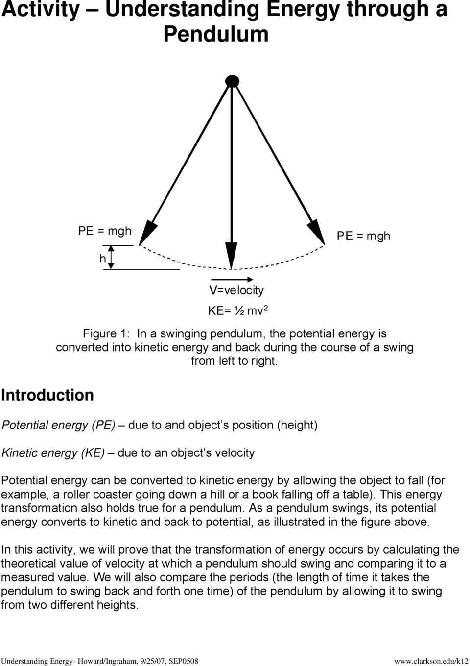 Lesson 3 Understanding Energy with a Pendulum PDF – Worksheet Kinetic and Potential Energy Problems