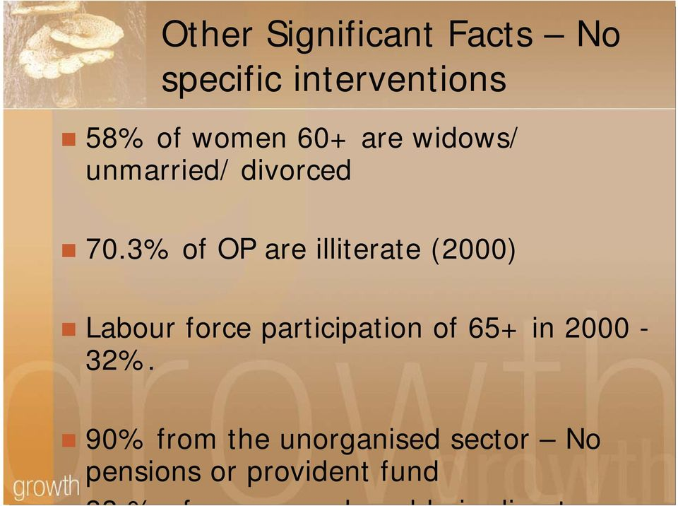 3% of OP are illiterate (2000) Labour force participation of
