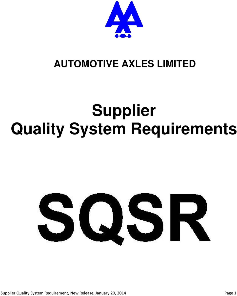 Supplier Quality System