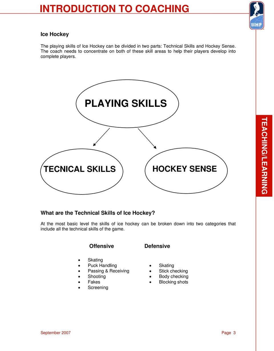 PLAYING SKILLS TECNICAL SKILLS HOCKEY SENSE What are the Technical Skills of Ice Hockey?