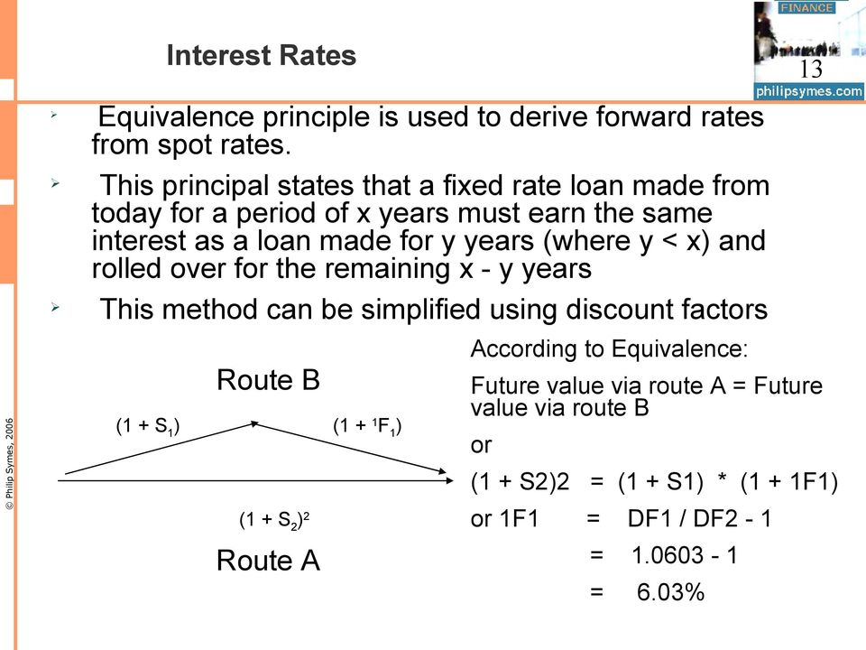 years (where y < x) and rolled over for the remaining x - y years This method can be simplified using discount factors Route B (1 + S 1