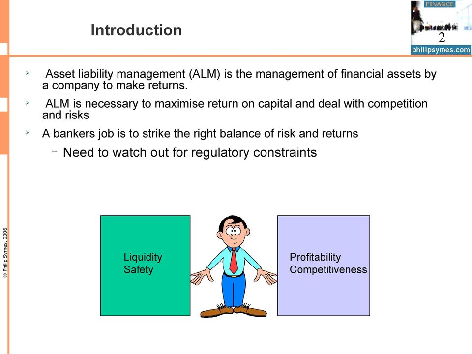 ALM is necessary to maximise return on capital and deal with competition and risks A