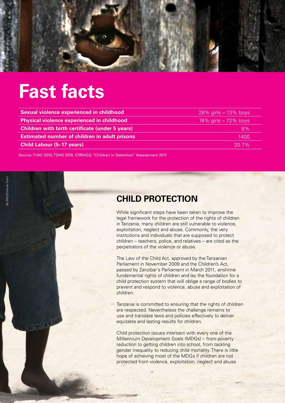 7% Source: TVAC 2010, TDHS 2010, CHRAGG Children in Detention Assessment 2011 Child Protection While significant steps have been taken to improve the legal framework for the protection of the rights