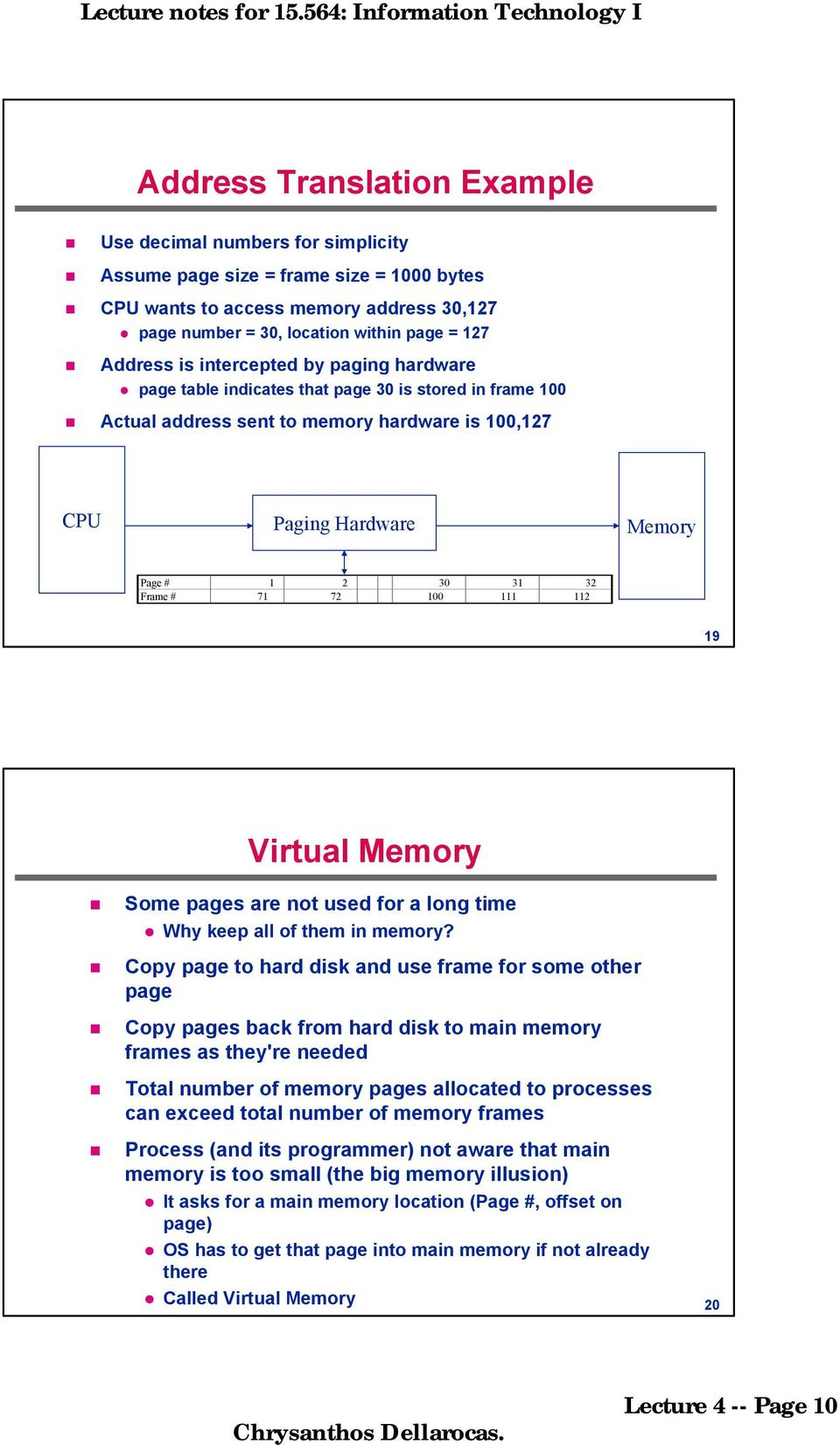 Frame # 71 72 100 111 112 19 Virtual Memory Some pages are not used for a long time Why keep all of them in memory?