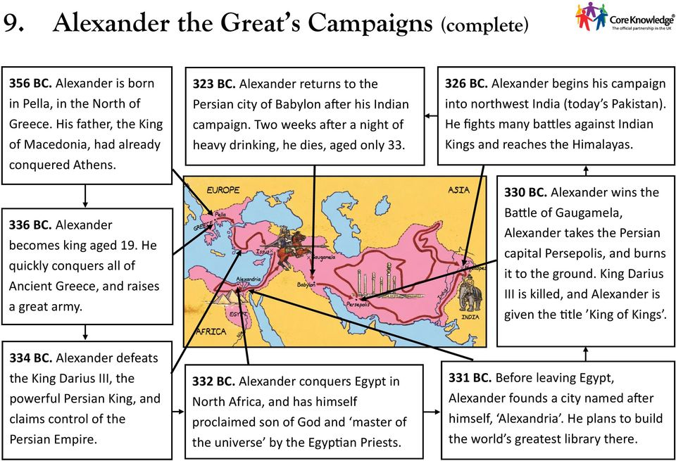 Two weeks after a night of heavy drinking, he dies, aged only 33. 326 BC. Alexander begins his campaign into northwest India (today s Pakistan).