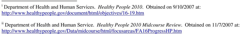 gov/document/html/objectives/16-19.htm ii Department of Health and Human Service.