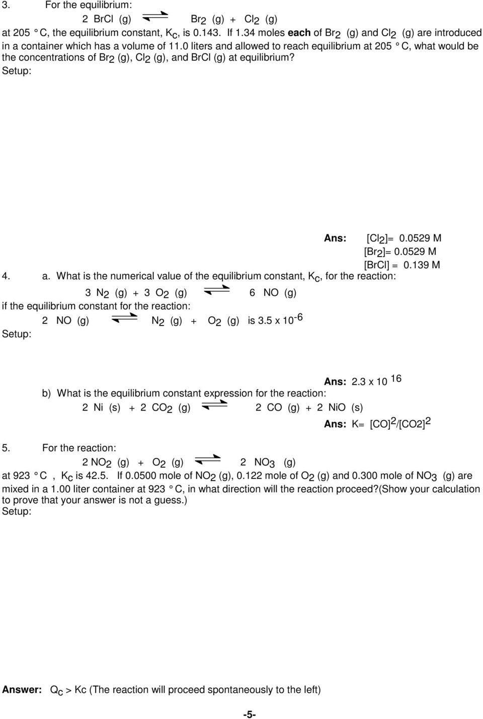 Worksheets Equilibrium Constant Worksheet worksheet chemical equilibrium pdf 5 x 10 6 ans 2 3 16 b what is the