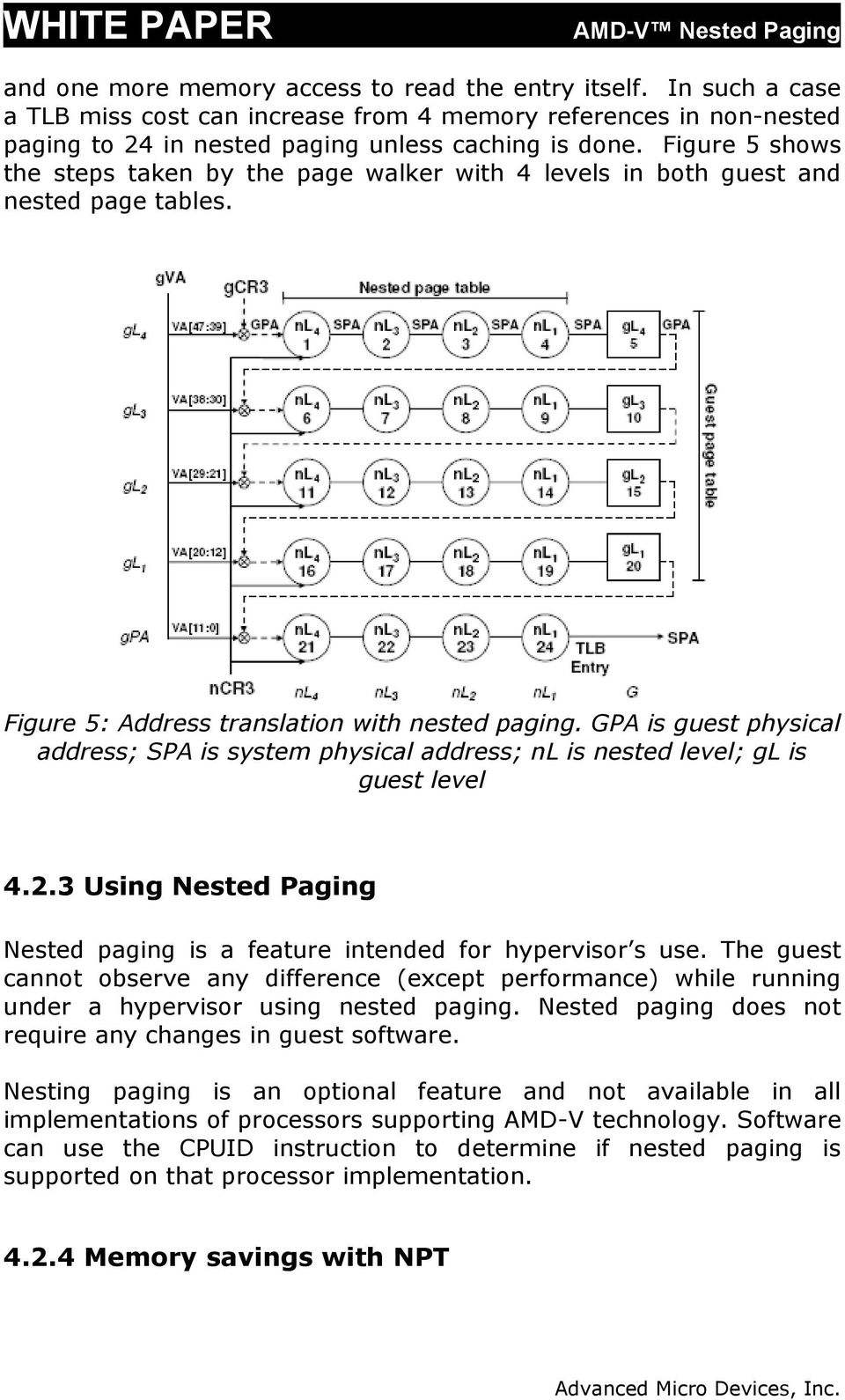 GPA is guest physical address; SPA is system physical address; nl is nested level; gl is guest level 4.2.3 Using Nested Paging Nested paging is a feature intended for hypervisor s use.