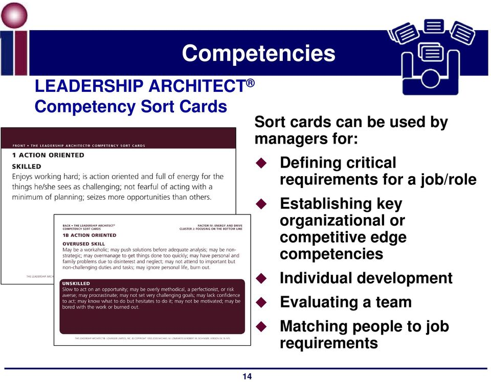 job/role Establishing key organizational or competitive edge
