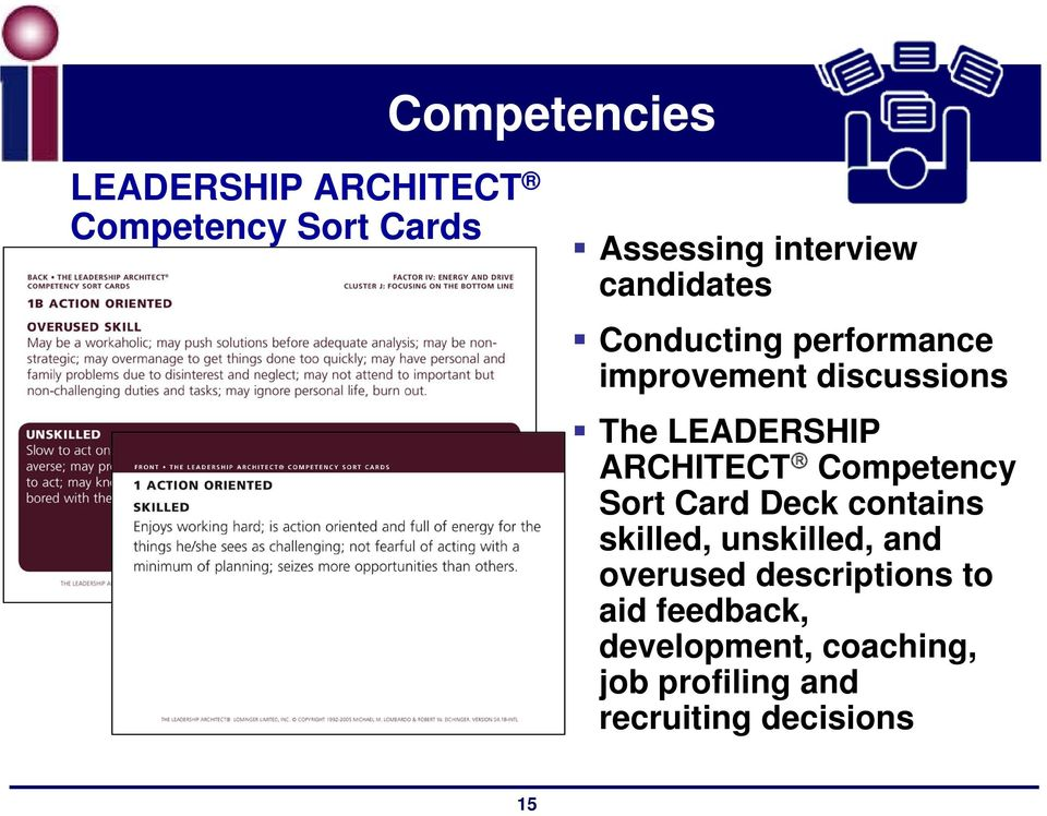 ARCHITECT Competency Sort Card Deck contains skilled, unskilled, and overused