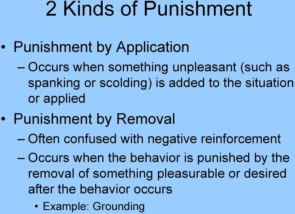 Often confused with negative reinforcement Occurs when the behavior is punished by the