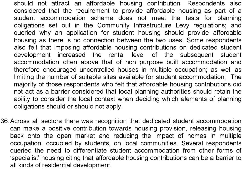 Infrastructure Levy regulations; and queried why an application for student housing should provide affordable housing as there is no connection between the two uses.