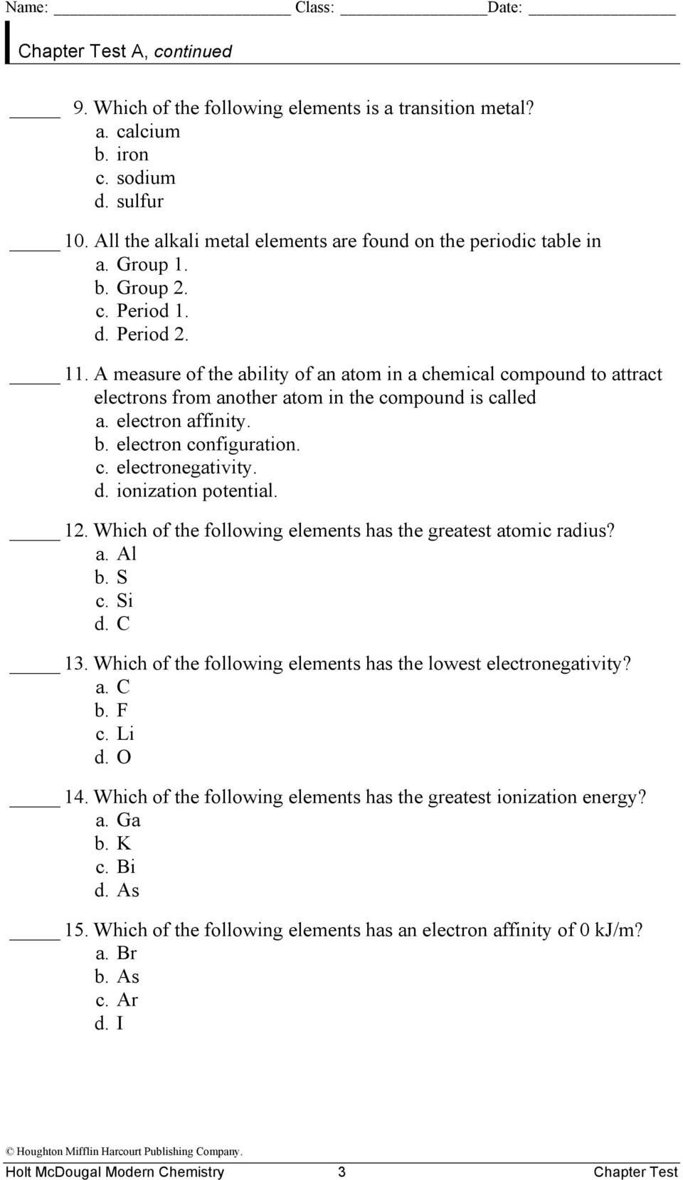The Periodic Table And Periodic Law Worksheet Answers Periodic – Periodic Law Worksheet