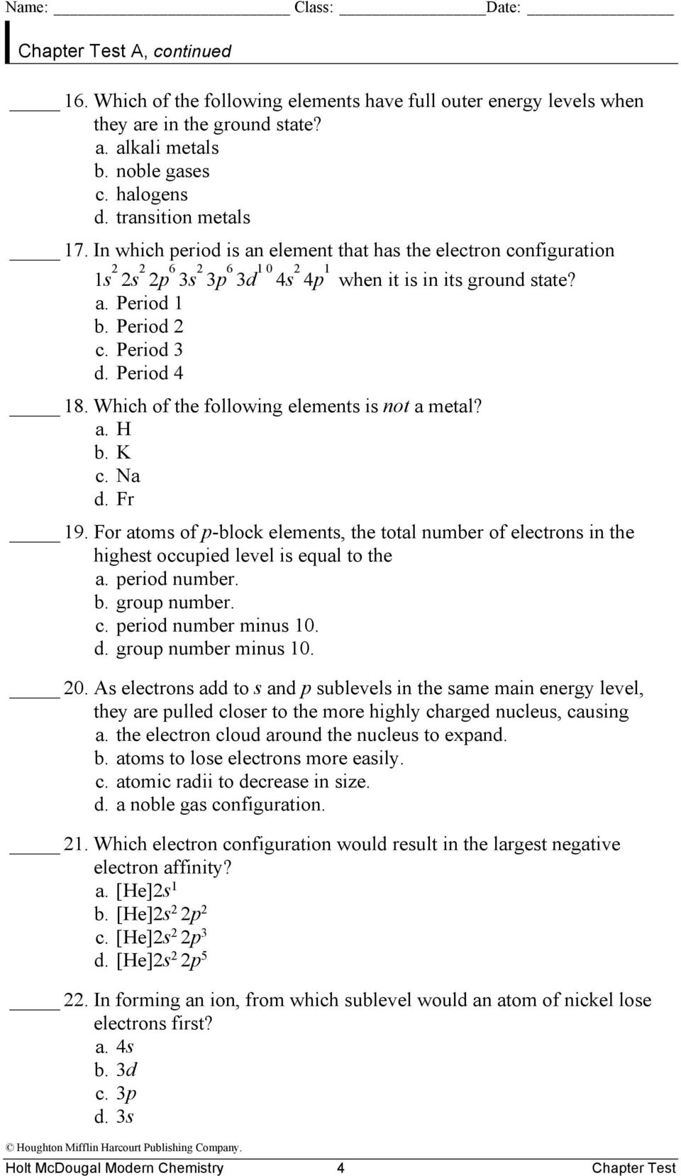 Chapter Test Teacher Notes And Answers 5 The Periodic Law