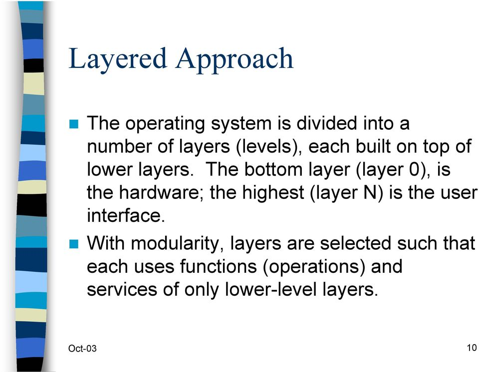 The bottom layer (layer 0), is the hardware; the highest (layer N) is the user