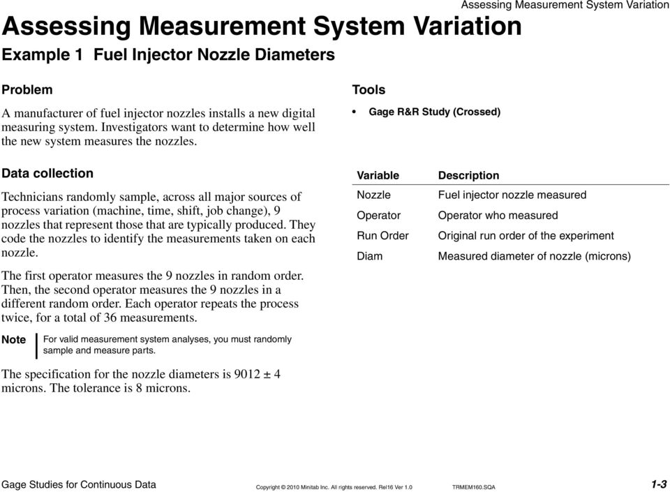 Tools Gage R&R Study (Crossed) Data collection Technicians randomly sample, across all major sources of process variation (machine, time, shift, job change), 9 nozzles that represent those that are