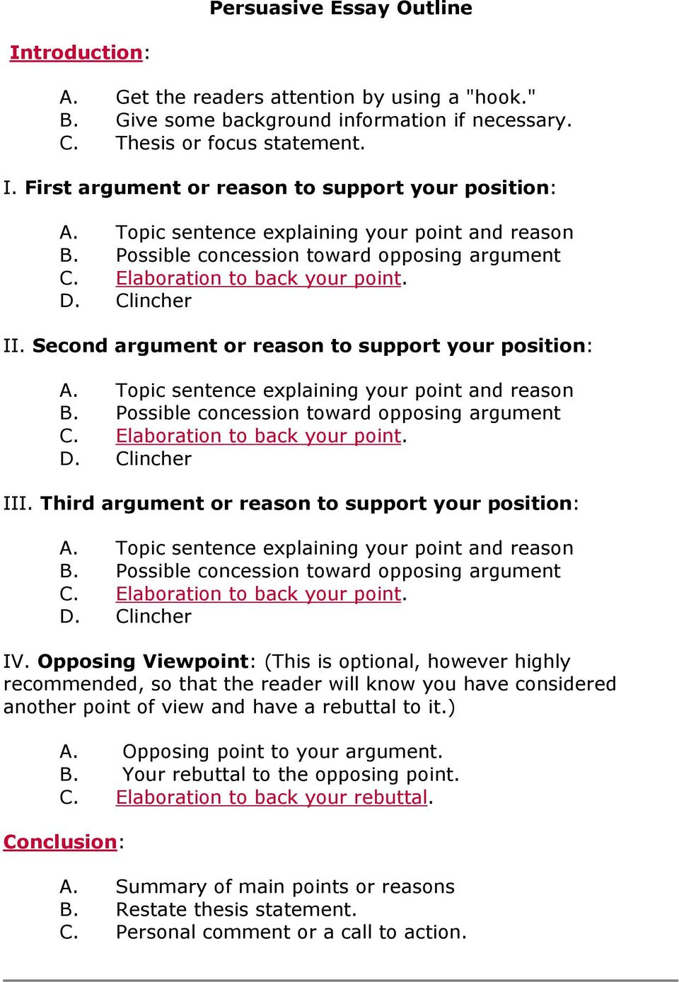 Second argument or reason to support your position: A. Topic sentence explaining your point and reason B. Possible concession toward opposing argument C. Elaboration to back your point. D.