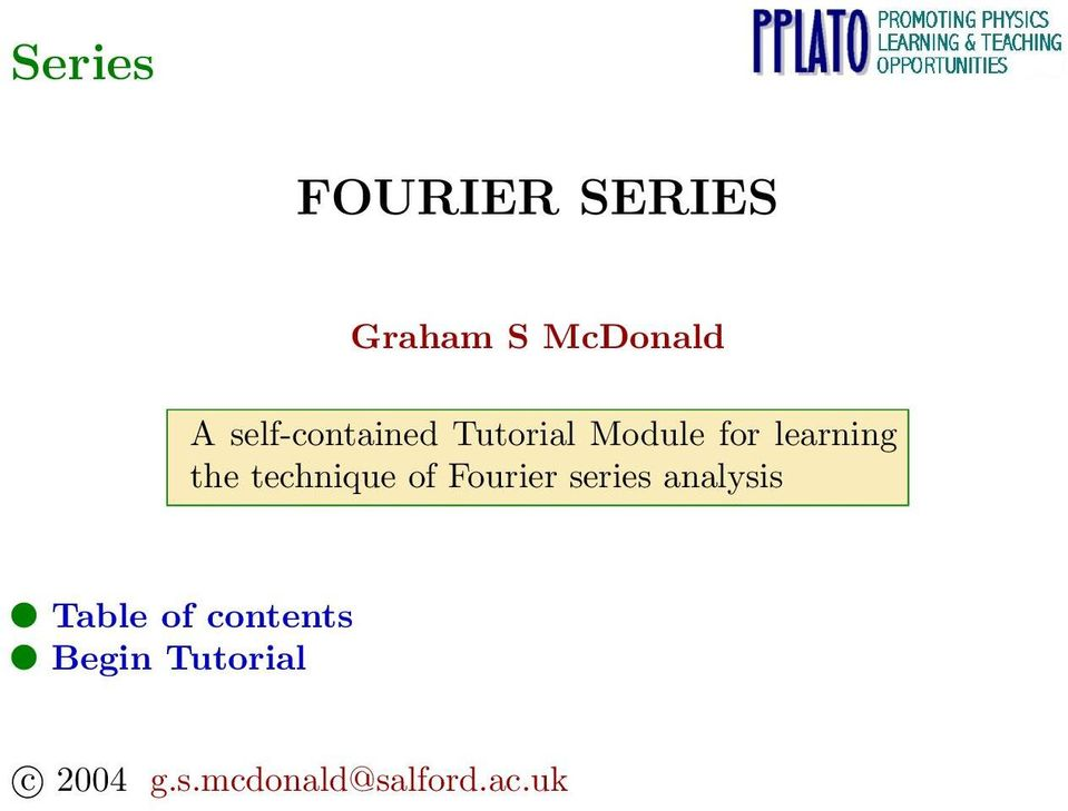 technique of Fourier series analysis Table of