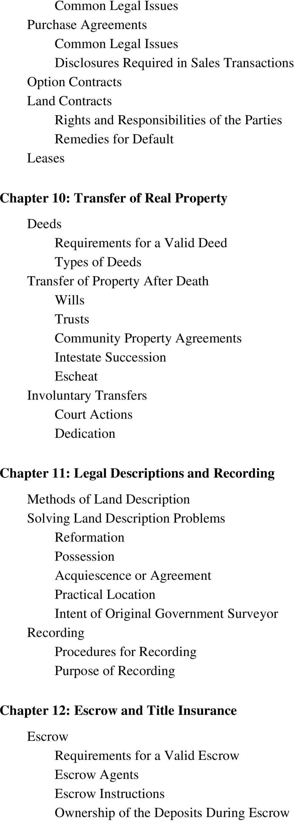 Escheat Involuntary Transfers Court Actions Dedication Chapter 11: Legal Descriptions and Recording Methods of Land Description Solving Land Description Problems Reformation Possession Acquiescence