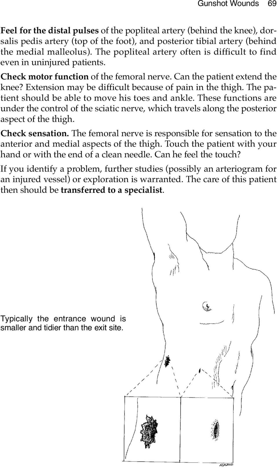 Extension may be difficult because of pain in the thigh. The patient should be able to move his toes and ankle.