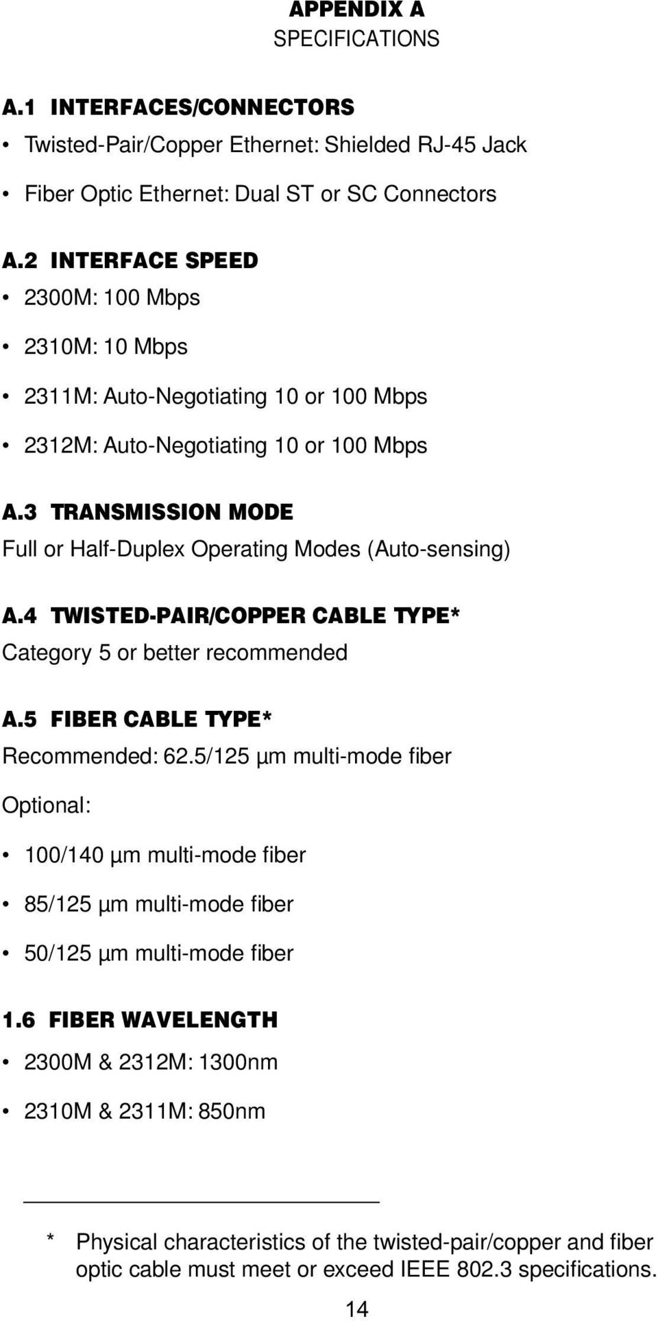 3 TRANSMISSION MODE Full or Half-Duplex Operating Modes (Auto-sensing) A.4 TWISTED-PAIR/COPPER CABLE TYPE* Category 5 or better recommended A.5 FIBER CABLE TYPE* Recommended: 62.