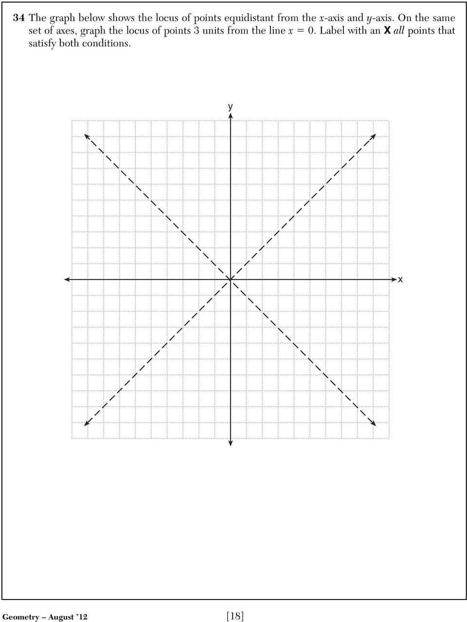 On the same set of axes, graph the locus of points 3 units