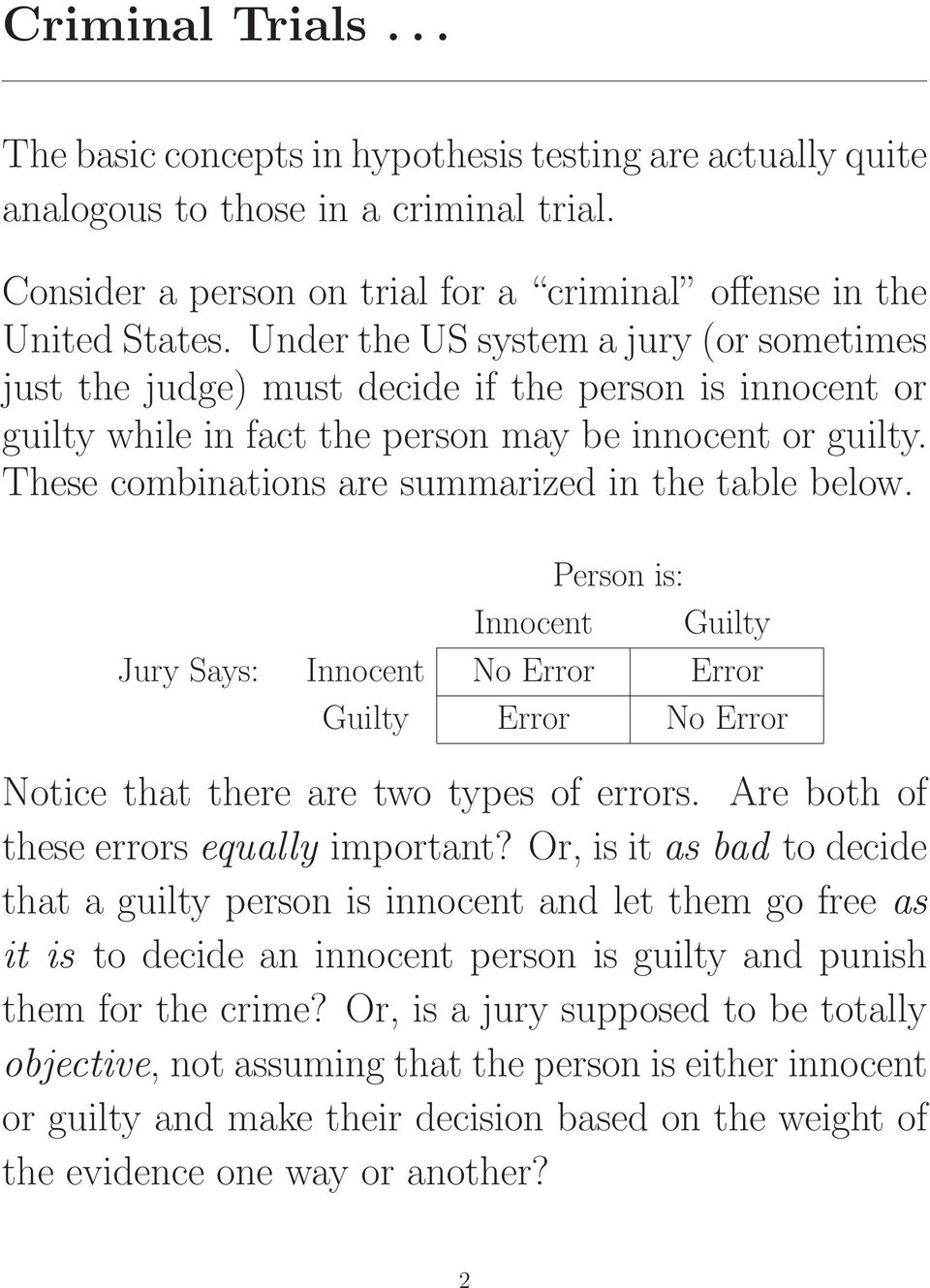 These combinations are summarized in the table below. Person is: Innocent Guilty Jury Says: Innocent No Error Error Guilty Error No Error Notice that there are two types of errors.