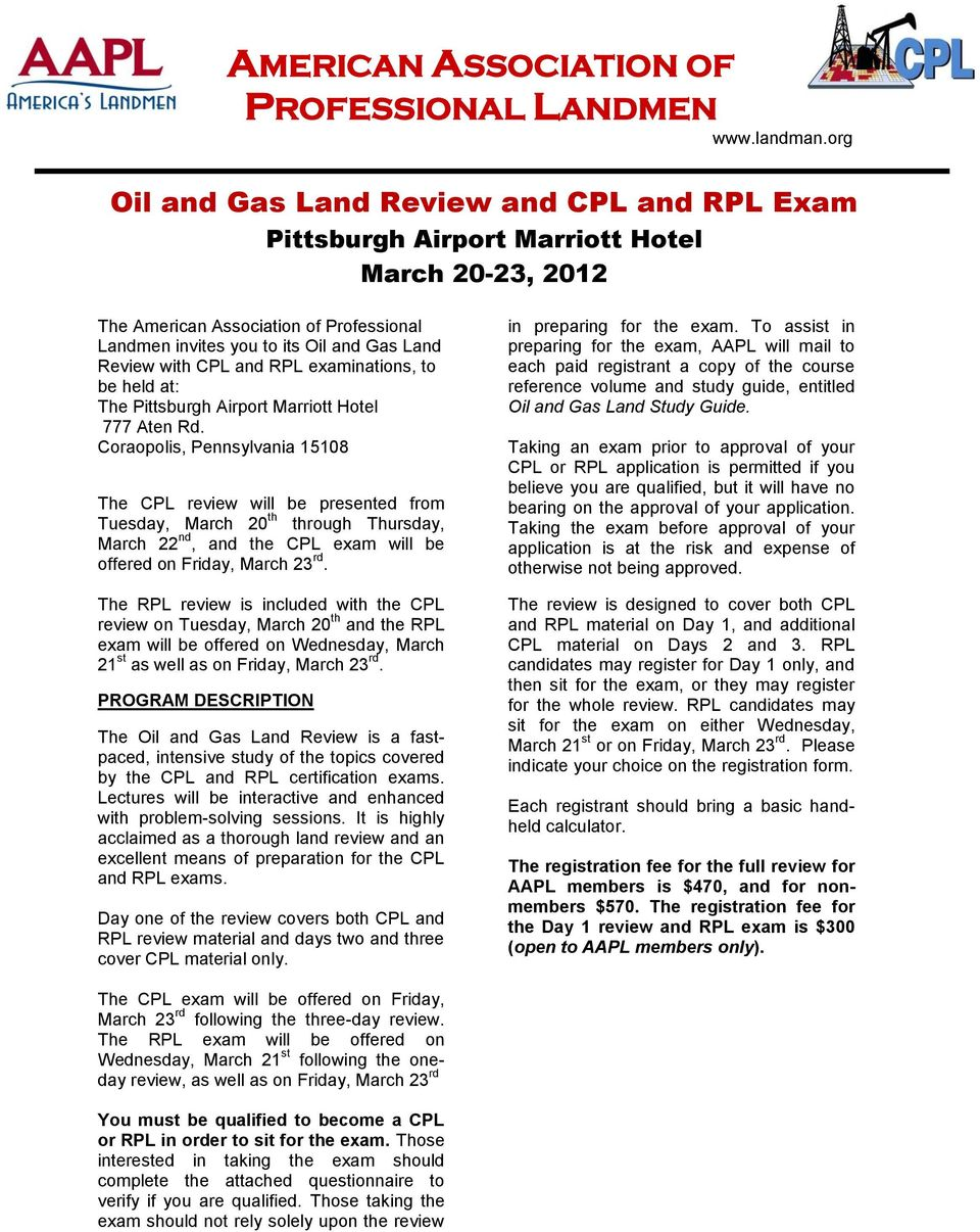 Oil and Gas Land Review and CPL and RPL Exam - PDF
