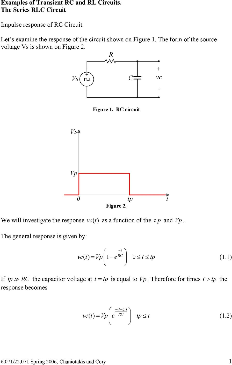 circuit Vs Vp 0 tp Figure. t We will investigate the response vc() t as a function of the τ p and Vp.