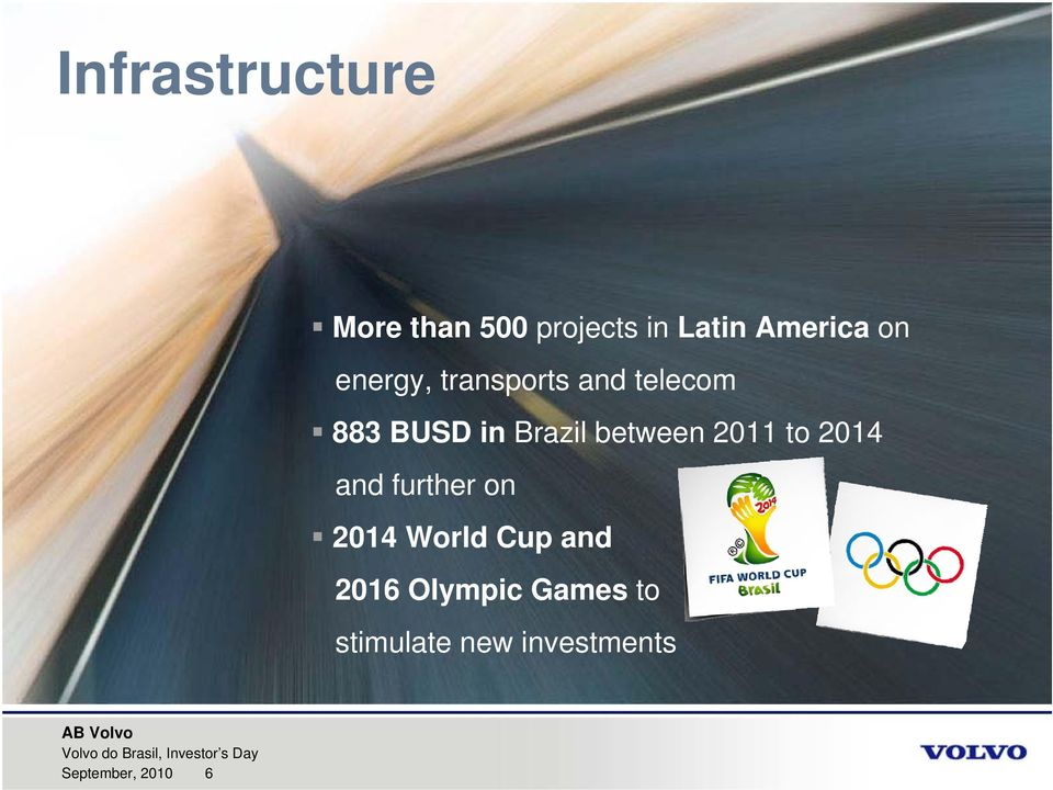 on 2014 World Cup and 2016 Olympic Games to stimulate new investments AB