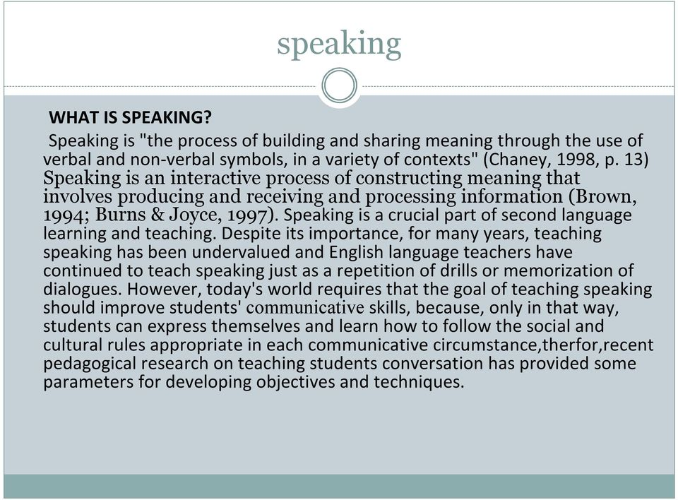 Speaking is a crucial part of second language learning and teaching.