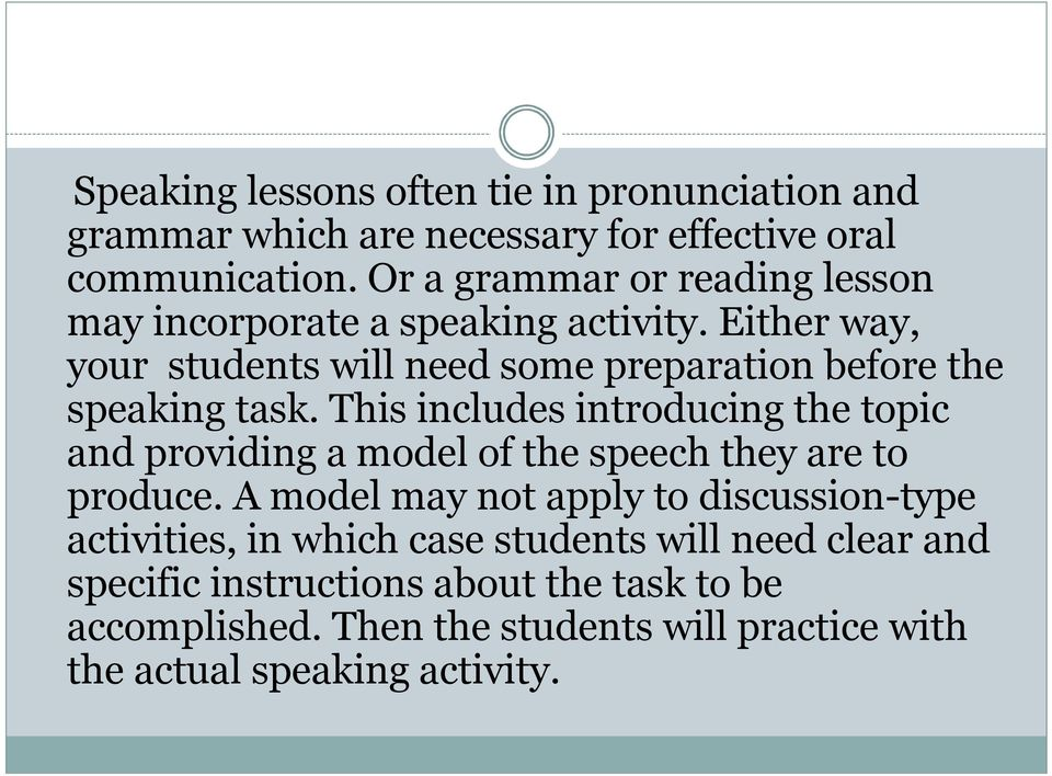 Either way, your students will need some preparation before the speaking task.