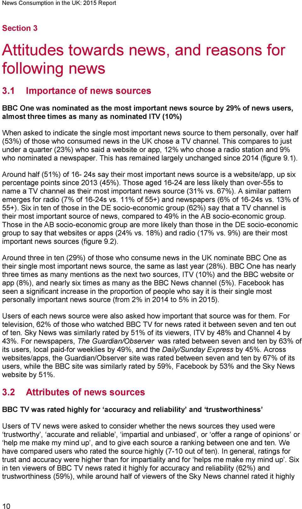important news source to them personally, over half (53%) of those who consumed news in the UK chose a TV channel.