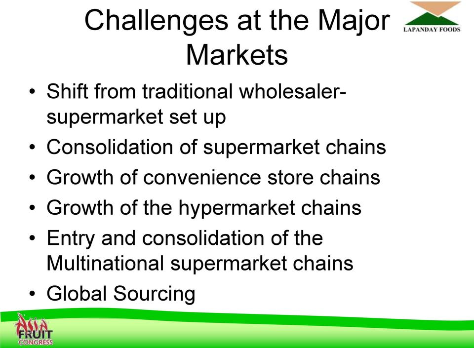 Growth of convenience store chains Growth of the hypermarket