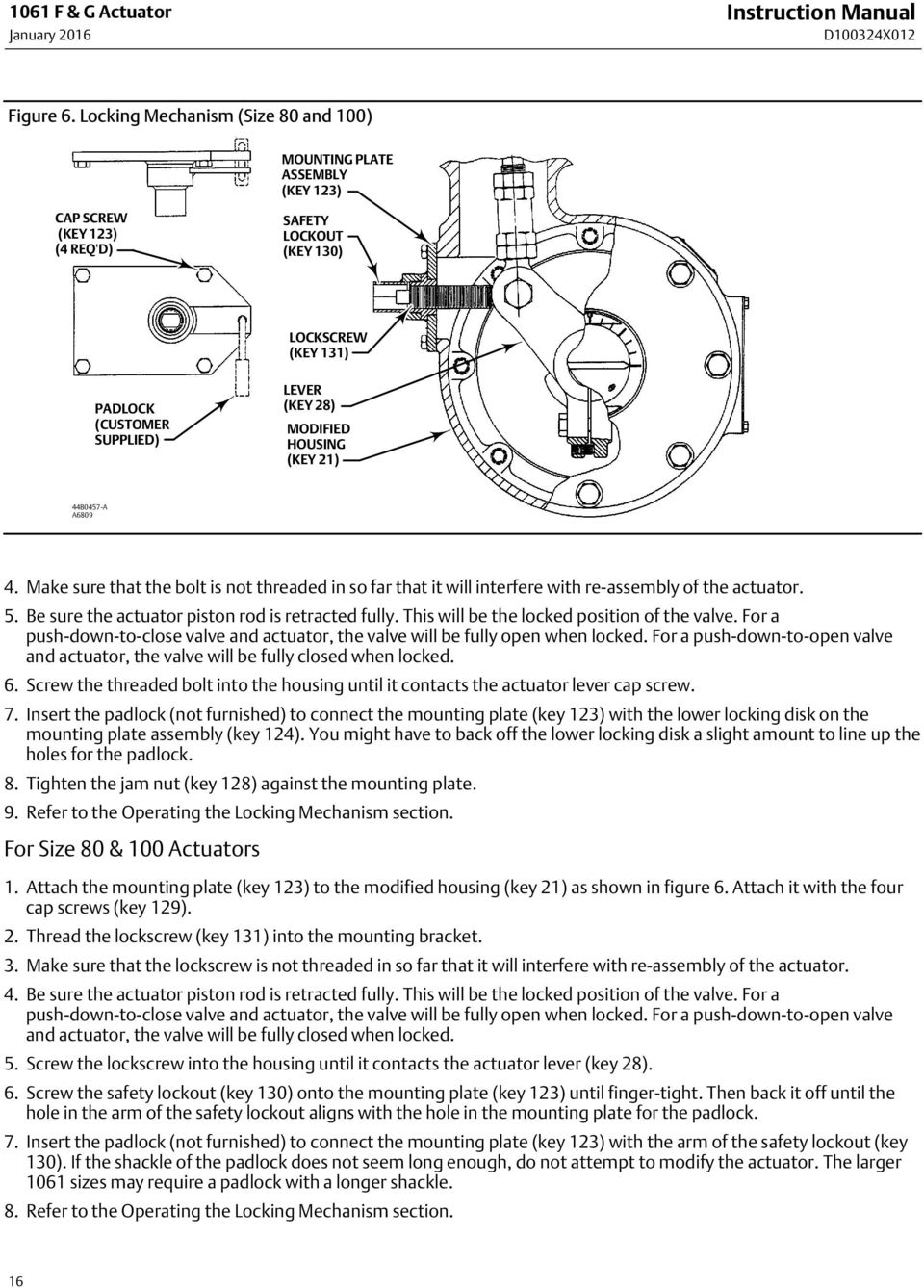HOUSING (KEY 21) 44B0457 A A6809 4. Make sure that the bolt is not threaded in so far that it will interfere with re assembly of the actuator. 5. Be sure the actuator piston rod is retracted fully.