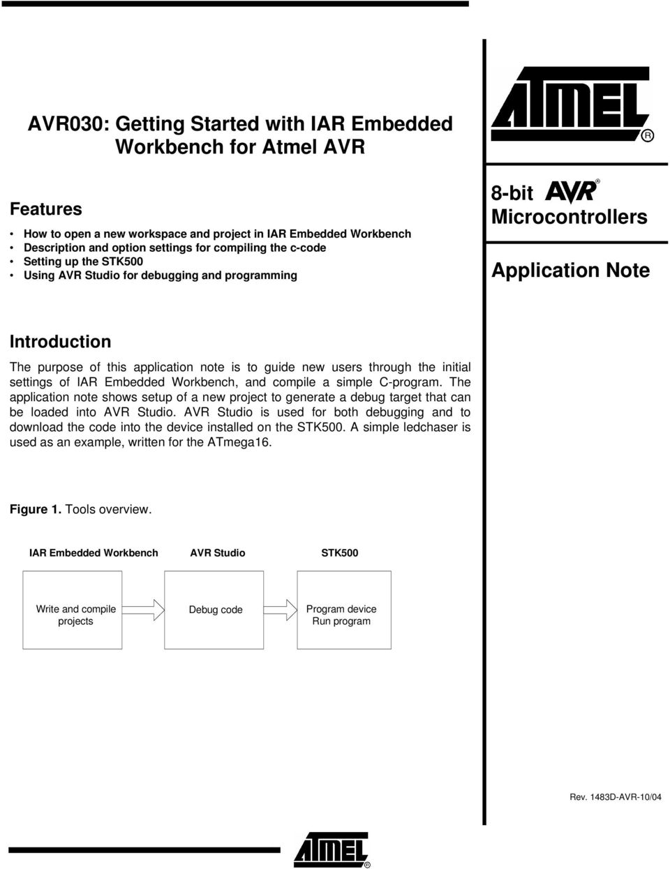 initial settings of IAR Embedded Workbench, and compile a simple C-program. The application note shows setup of a new project to generate a debug target that can be loaded into AVR Studio.