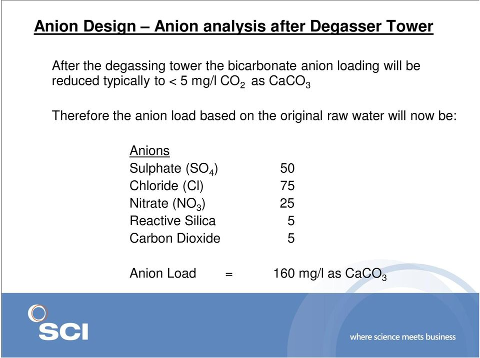 the anion load based on the original raw water will now be: Anions Sulphate (SO 4 ) 50