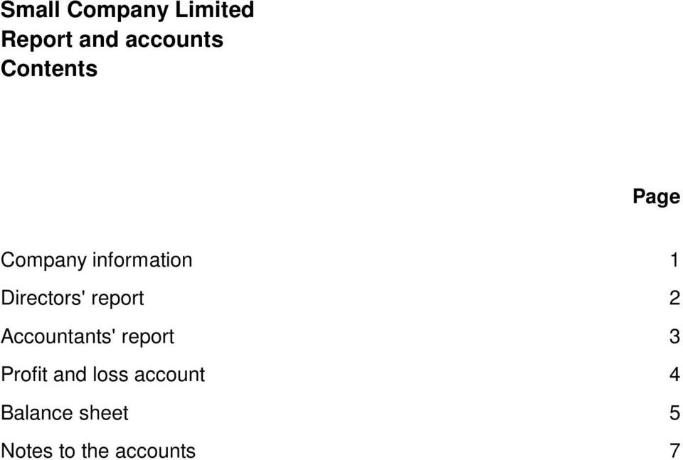2 Accountants' report 3 Profit and loss