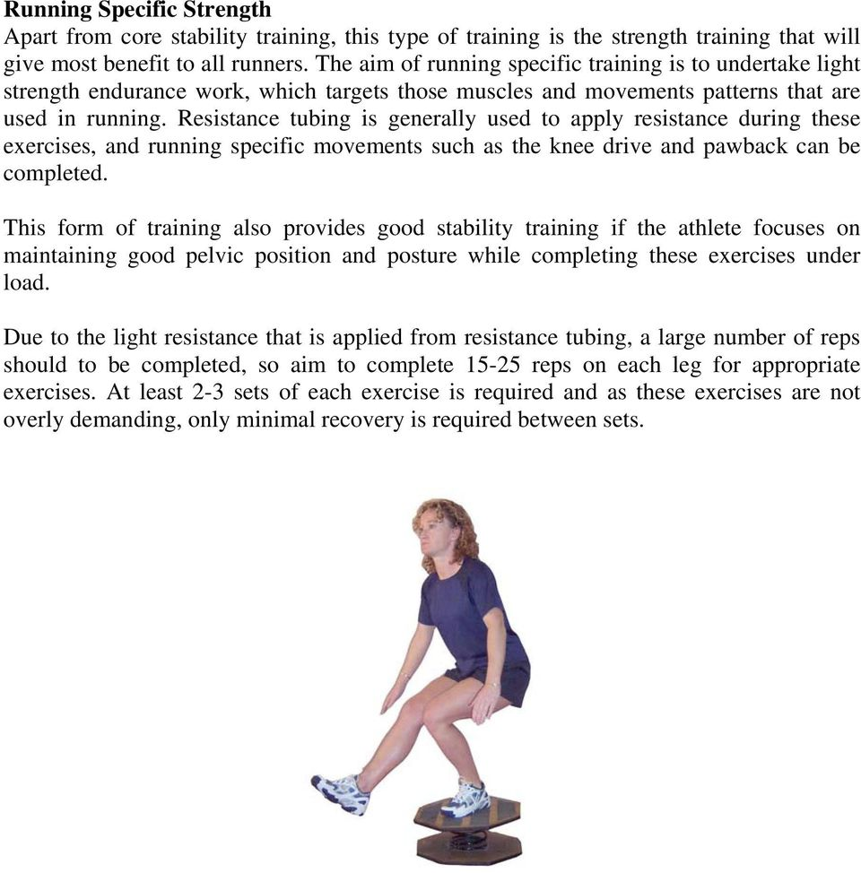 Resistance tubing is generally used to apply resistance during these exercises, and running specific movements such as the knee drive and pawback can be completed.