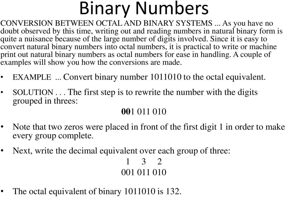 Since it is easy to convert natural binary numbers into octal numbers, it is practical to write or machine print out natural binary numbers as octal numbers for ease in handling.