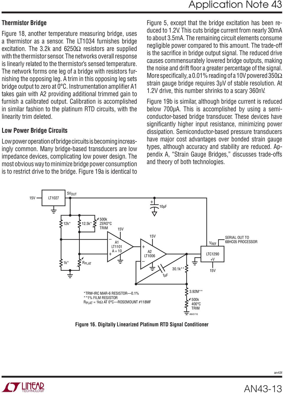 Application Note 43 June Bridge Circuits Marrying Gain And Balance Instrumentation Amplifier With Cmrr Calibration The Network Forms One Leg Of A Resistors Furnishing Opposing