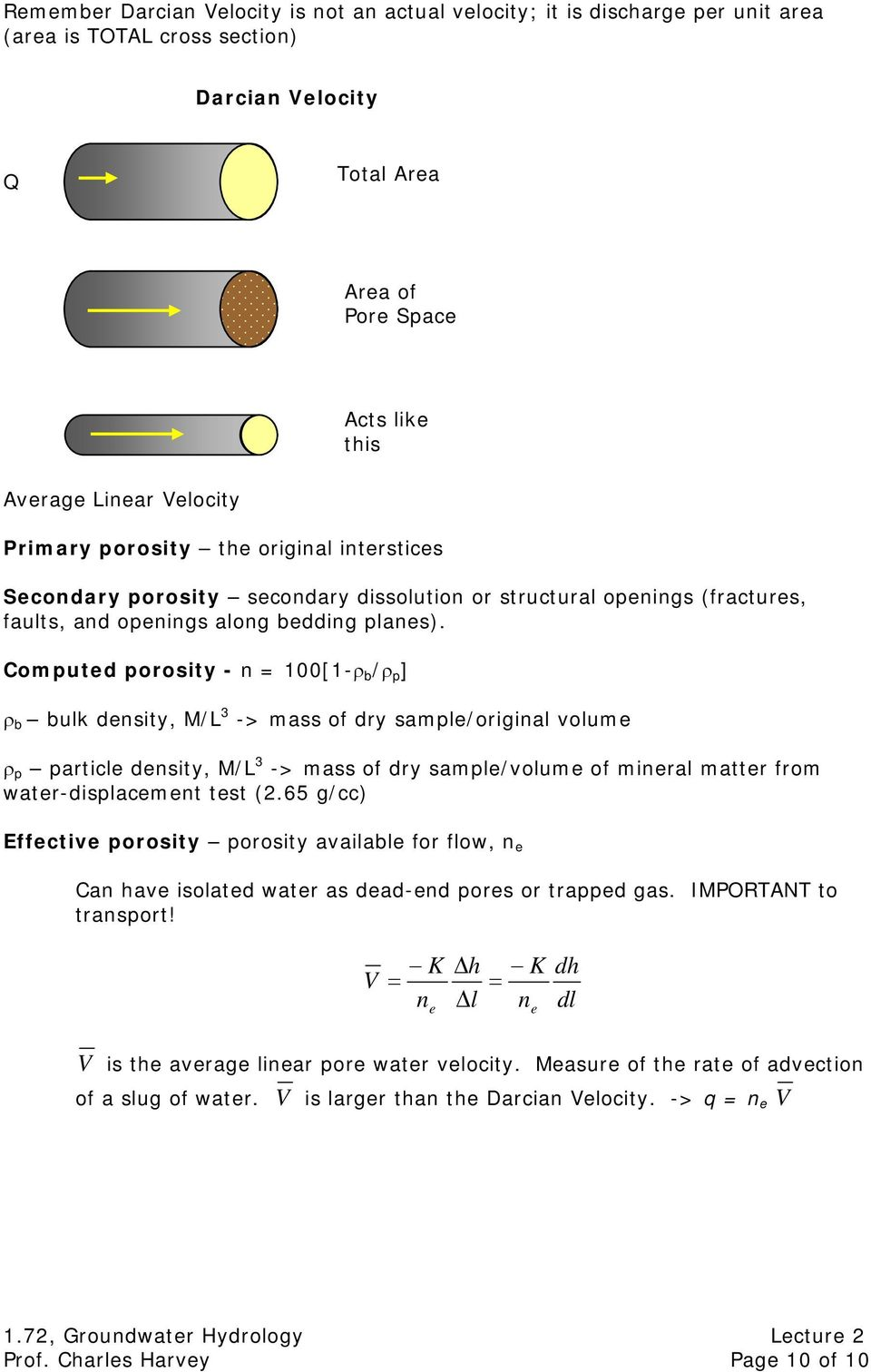 Computed porosity - n = 100[1-ρ b /ρ p ] ρ b bulk density, M/L 3 -> mass of dry sample/original volume ρ p particle density, M/L 3 -> mass of dry sample/volume of mineral matter from