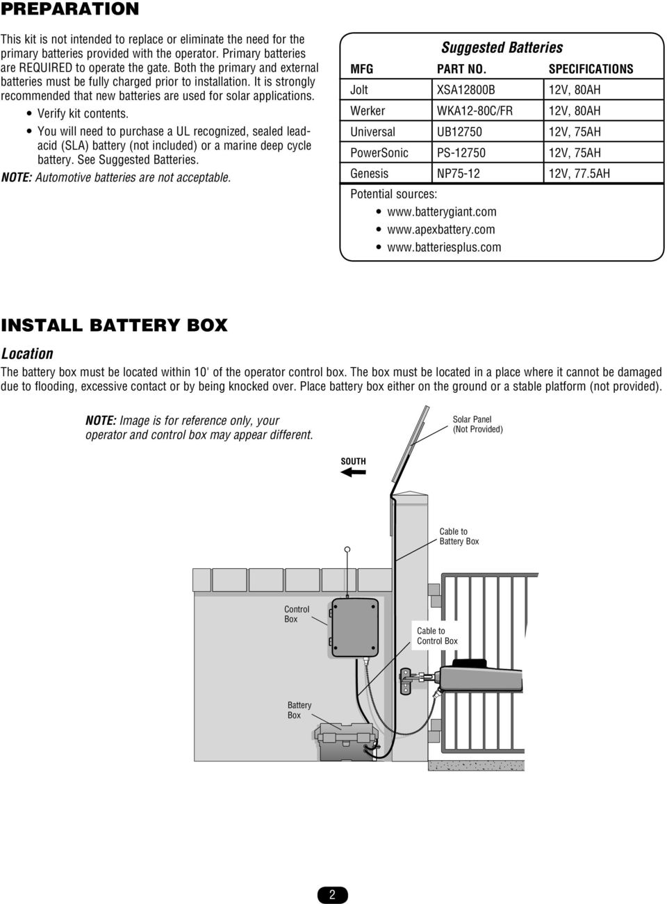You will need to purchase a UL recognized, sealed leadacid (SLA) battery (not included) or a marine deep cycle battery. See Suggested Batteries. NOTE: Automotive batteries are not acceptable.