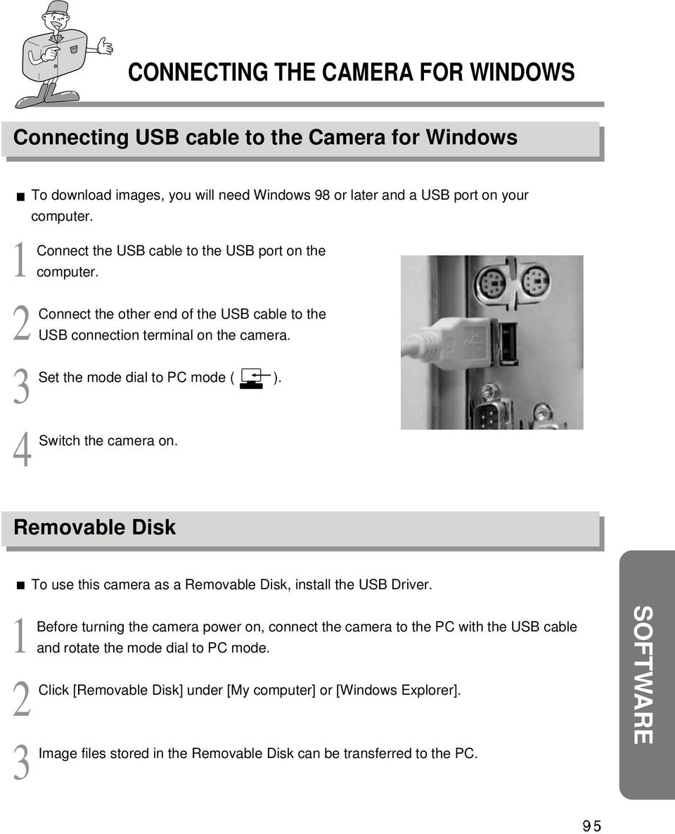 4 Switch the camera on. Removable Disk To use this camera as a Removable Disk, install the USB Driver.