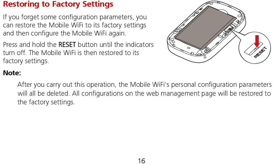 The Mobile WiFi is then restored to its factory settings.