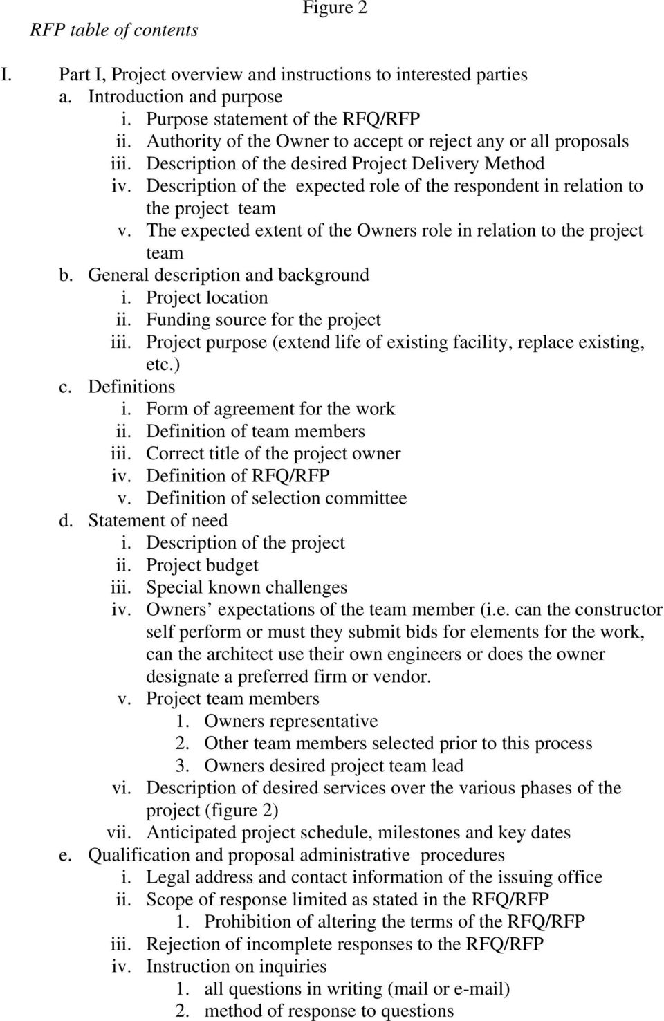 Description of the expected role of the respondent in relation to the project team v. The expected extent of the Owners role in relation to the project team b. General description and background i.