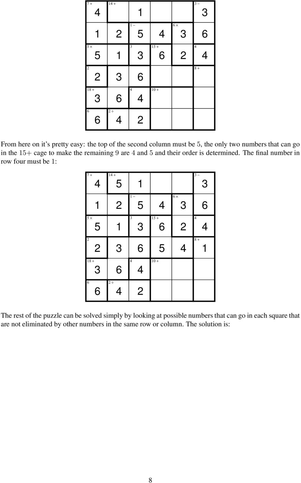 The final number in row four must be : 7 + + + The rest of the puzzle can be solved simply by looking at